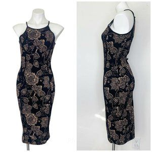 JANUARY 7 Halter Neck STRETCH Bodycon Floral Dress, Tan And Black Size SMALL NEW